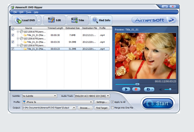 Aimersoft DVD Ripper screenshoot 1