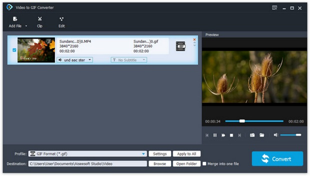 Aiseesoft Free Video to GIF Converter screenshoot 1