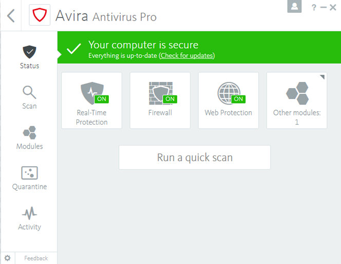 Avira Antivirus Pro screenshoot 1