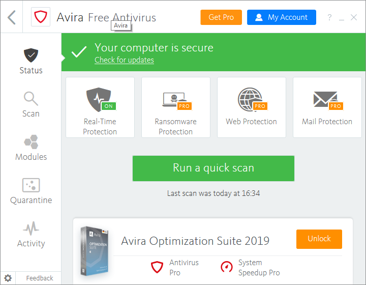 Avira Free Antivirus screenshoot 1