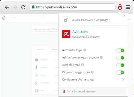 Avira Password Manager screenshoot 1