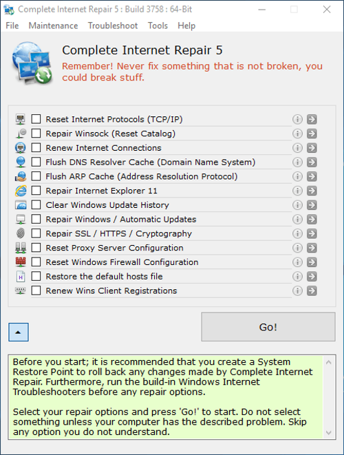 Complete Internet Repair screenshoot 1