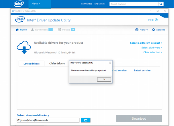 Intel Driver Update Utility screenshoot 1