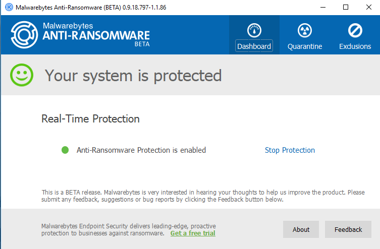Malwarebytes Anti-Ransomware screenshoot 1