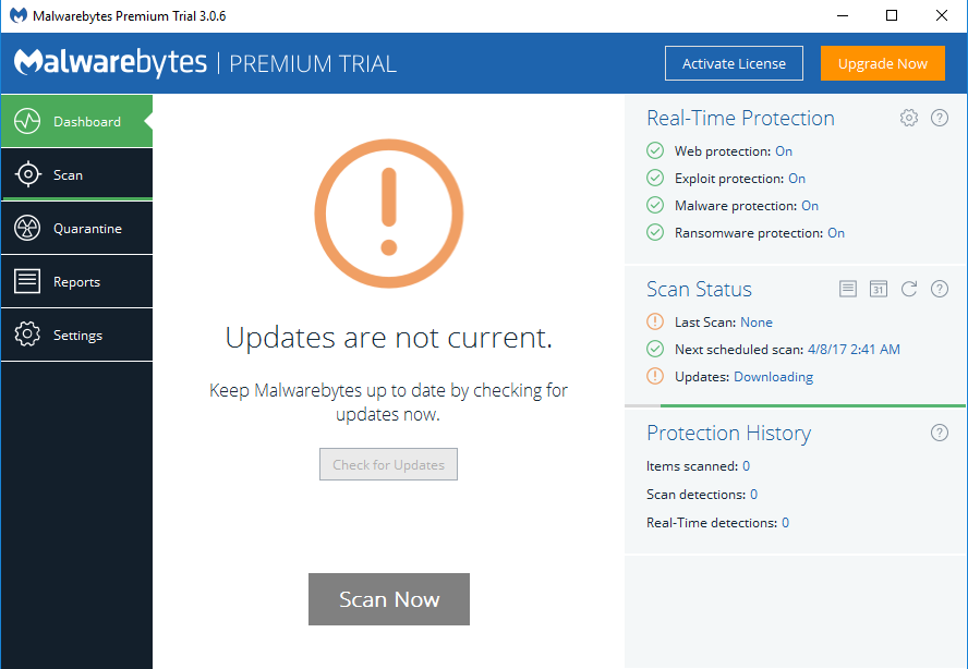 Malwarebytes screenshoot 1