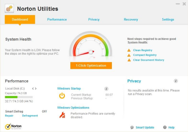 Norton Utilities screenshoot 1
