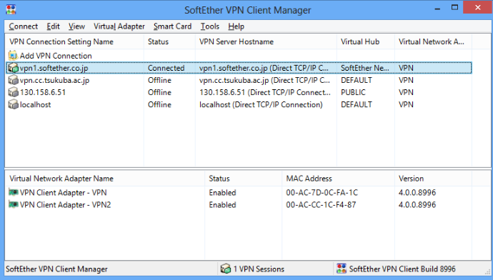 SoftEther VPN Client screenshoot 1