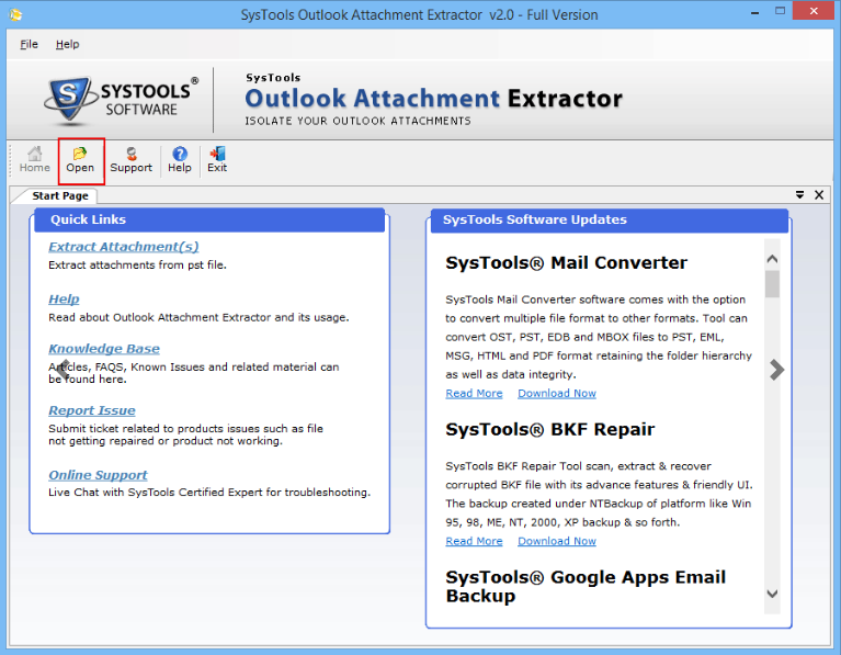 SysTools Outlook Attachment Extractor screenshoot 1