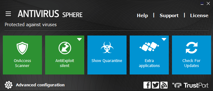 TrustPort Antivirus Sphere screenshoot 1