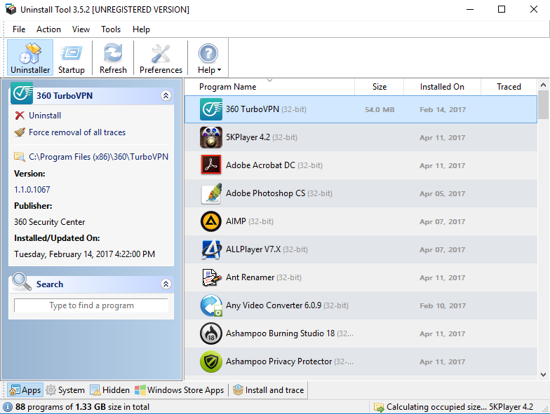 Uninstall Tool screenshoot 1
