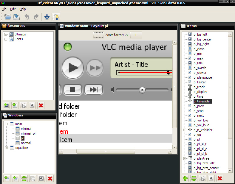 VLC media player Skin Editor screenshoot 1