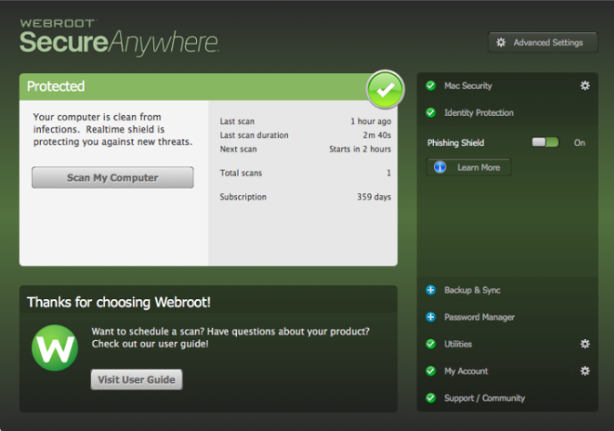 Webroot SecureAnywhere Antivirus screenshoot 1