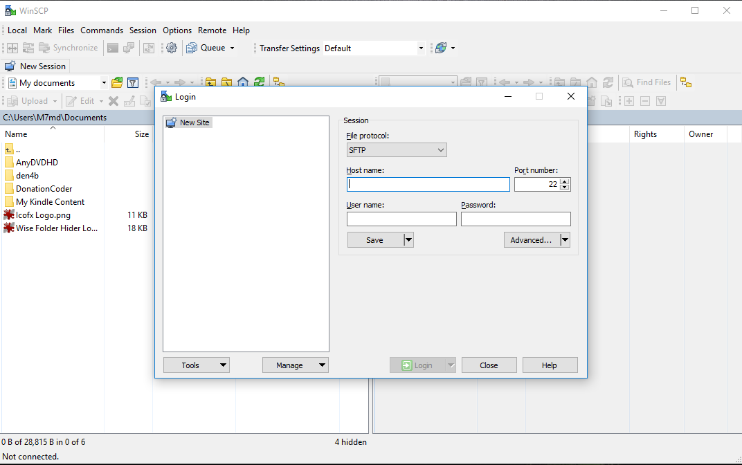 WinSCP screenshoot 1